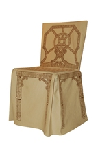 DU201 - Dress-up Chair Cover Chippendale pattern, Sepia