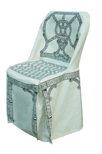 DU202 - Dress-up Chair Cover Chippendale pattern, Black & Cream